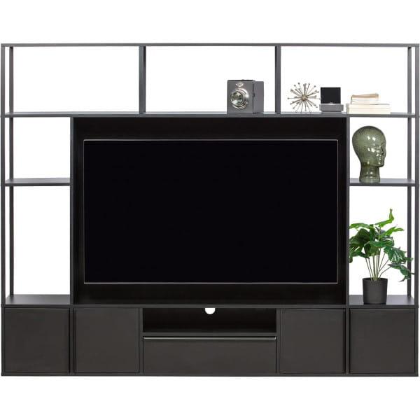 TV Möbel Wohnwand Toby Metall MDF Schwarz (FSC)
