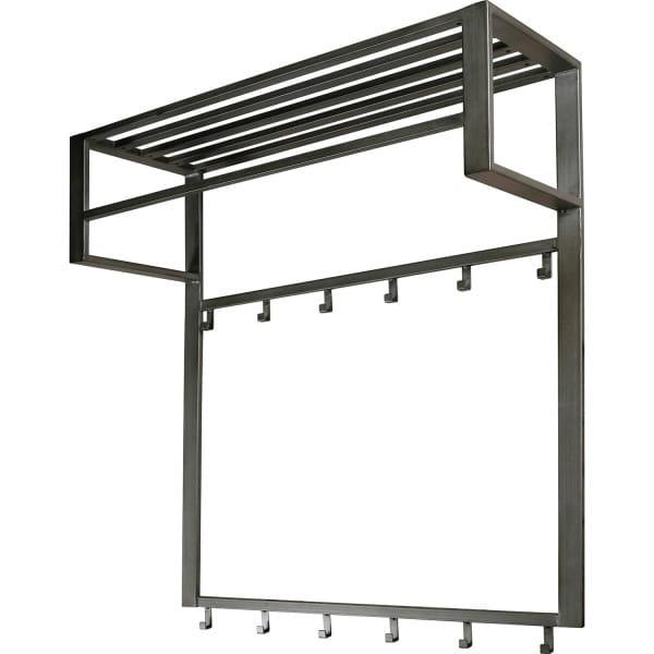 Garderobe Industry 2x6 Haken Stange Hutablage Silber-Finish