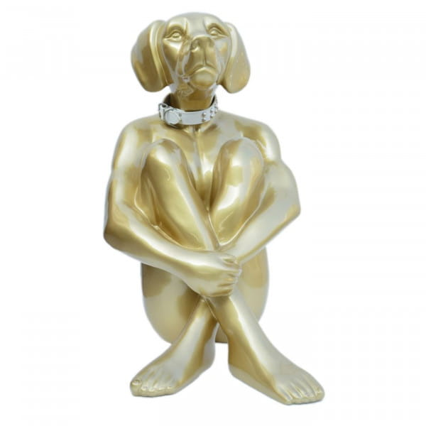Deko Objekt Sitting Dog gold 80