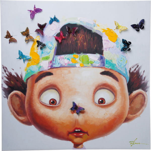 Bild Touched Boy with Butterflys 100x100cm