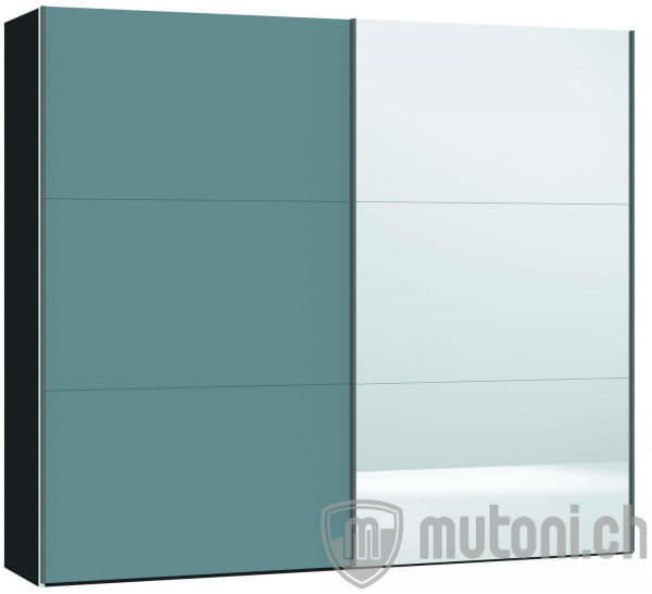 Schwebetürenschrank Slideline 220 Glas hellblau matt / Spiegel