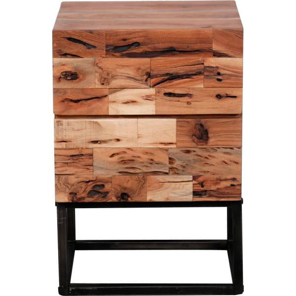 Nachttisch Mill 2 Schubladen / Massiv acacia gesandstrahlt
