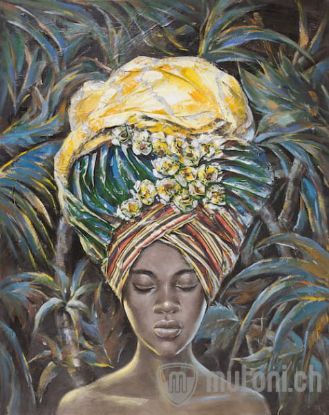 Wandbild Frau mit Turban 1 handgemalt 150x120
