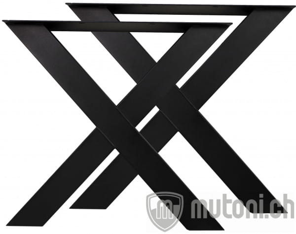 Tischgestell X Metall schwarz (2er-Set)